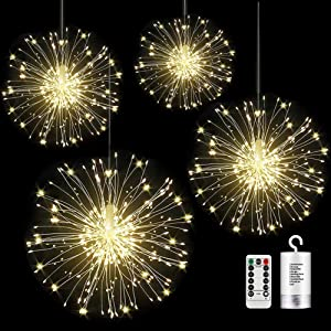 4 Pack Firework Lights 120 led Copper Wire Starburst String Lights 8 Modes Battery Operated Fairy Lights with Remote,Christmas Decorative Hanging Lights for Party Patio Bedroom Christmas Decoration