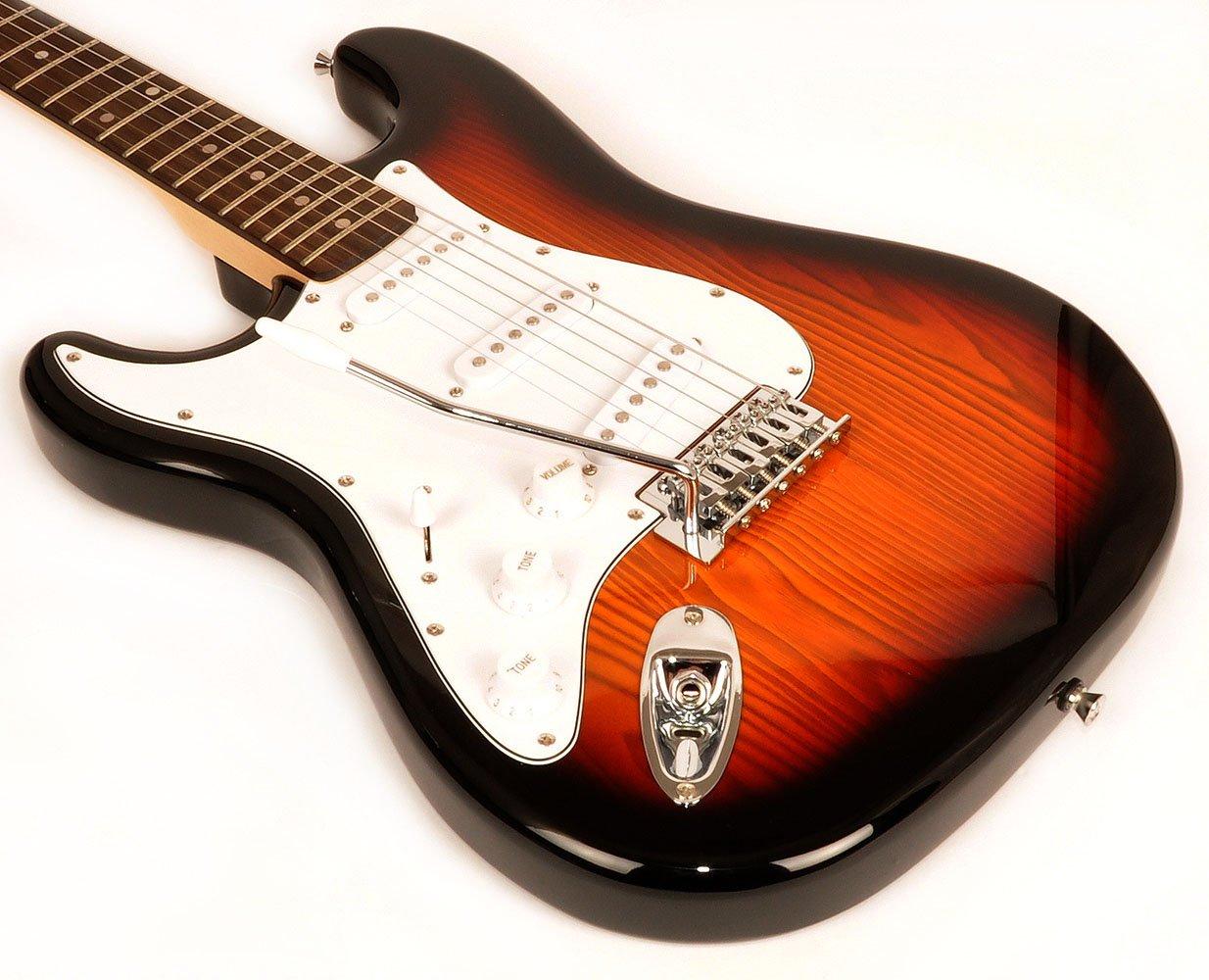 RST 3TS LH zurdos 3 tonos guitarra eléctrica paquete con tamaño completo guitarra eléctrica, amplificador, bolsa de transporte, instructivo y DVD: ...