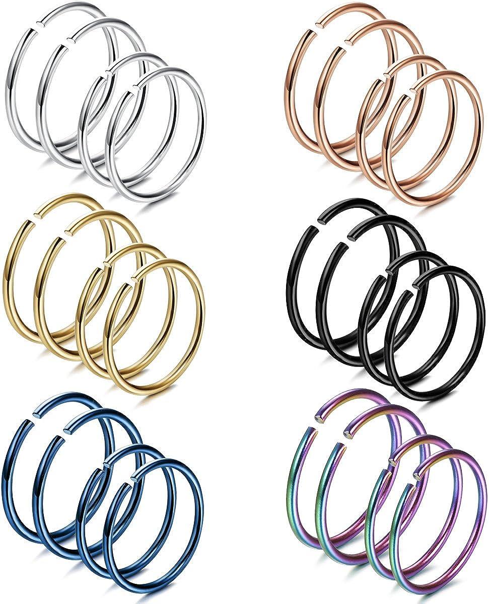 FIBO STEEL 18-20G 5-24PCS Stainless Steel Body Jewelry Piercing Nose Ring Hoop Nose Piercing …