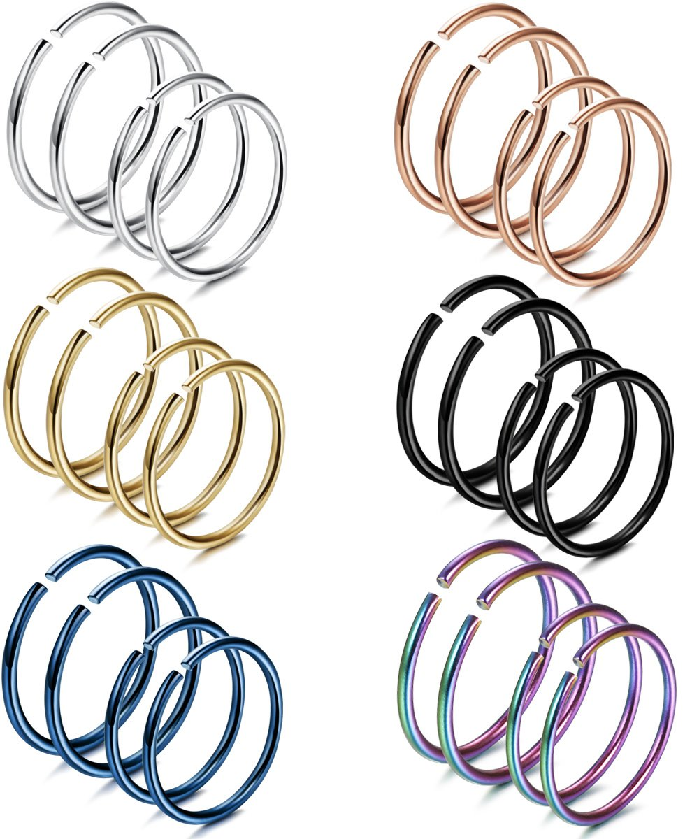 FIBO STEEL 20G 24PCS Stainless Steel Body Jewelry Piercing Nose Ring Hoop Nose Piercing by FIBO STEEL