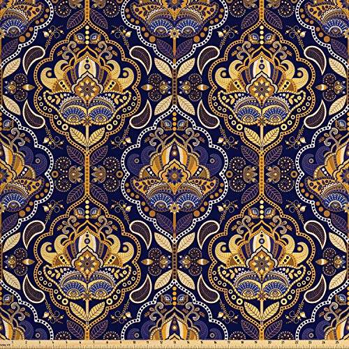 Ambesonne Asian Fabric by The Yard, Oriental Antique Pattern Foliage Inspirations Geometrical Design, Decorative Fabric for Upholstery and Home Accents, 3 Yards, Purple Yellow from Ambesonne