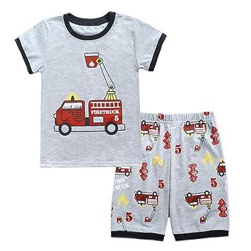 e339f64ae Cyhulu Toddler Kids Baby Boys Fashion Cartoon Fire Truck Print Short Sleeve  T-shirt and