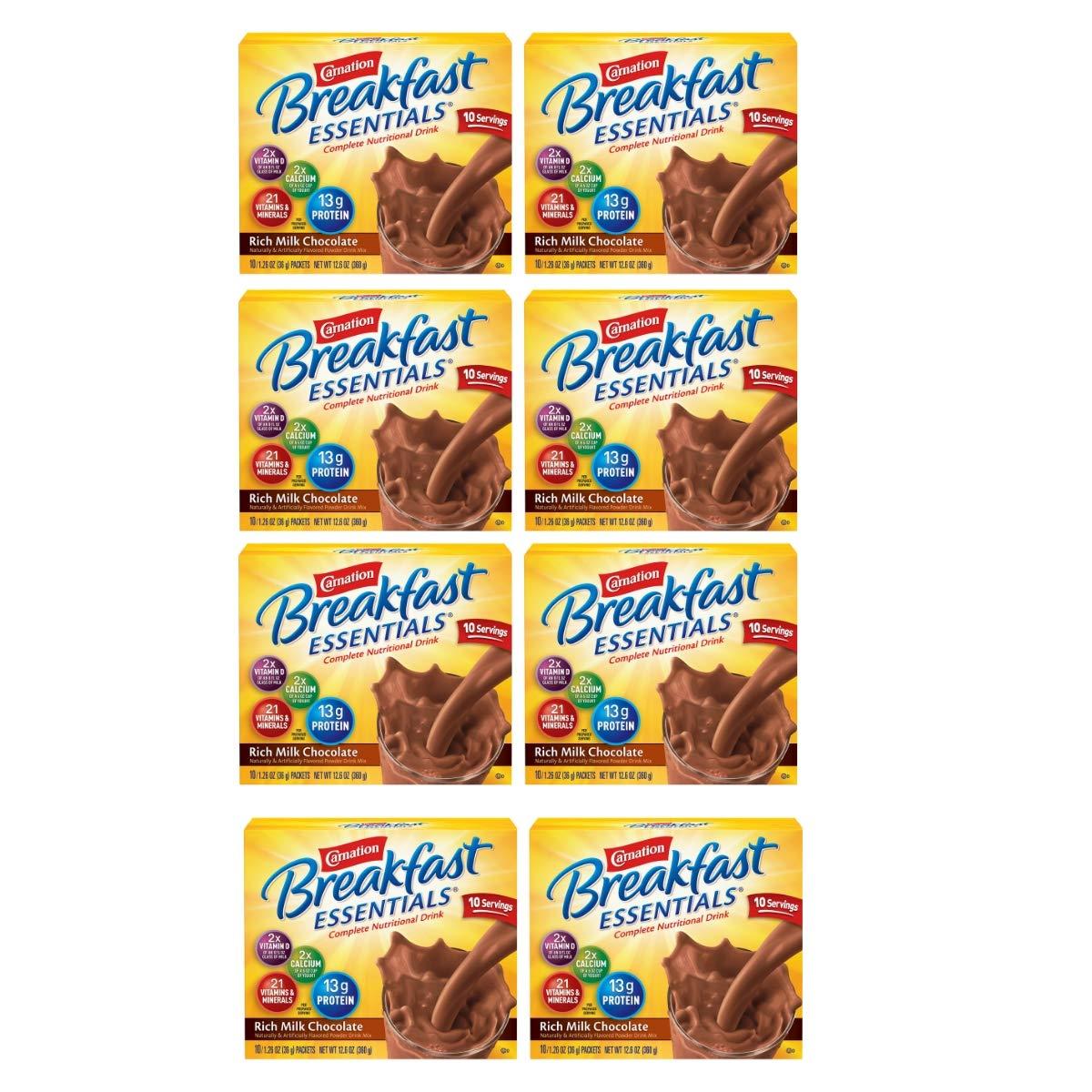 Carnation Breakfast Essentials Powder Drink Mix, Rich Milk Chocolate, 10 Count Box of 1.26 oz Packets, 8 Pack (Rich Milk Chocolate, 80 Count)