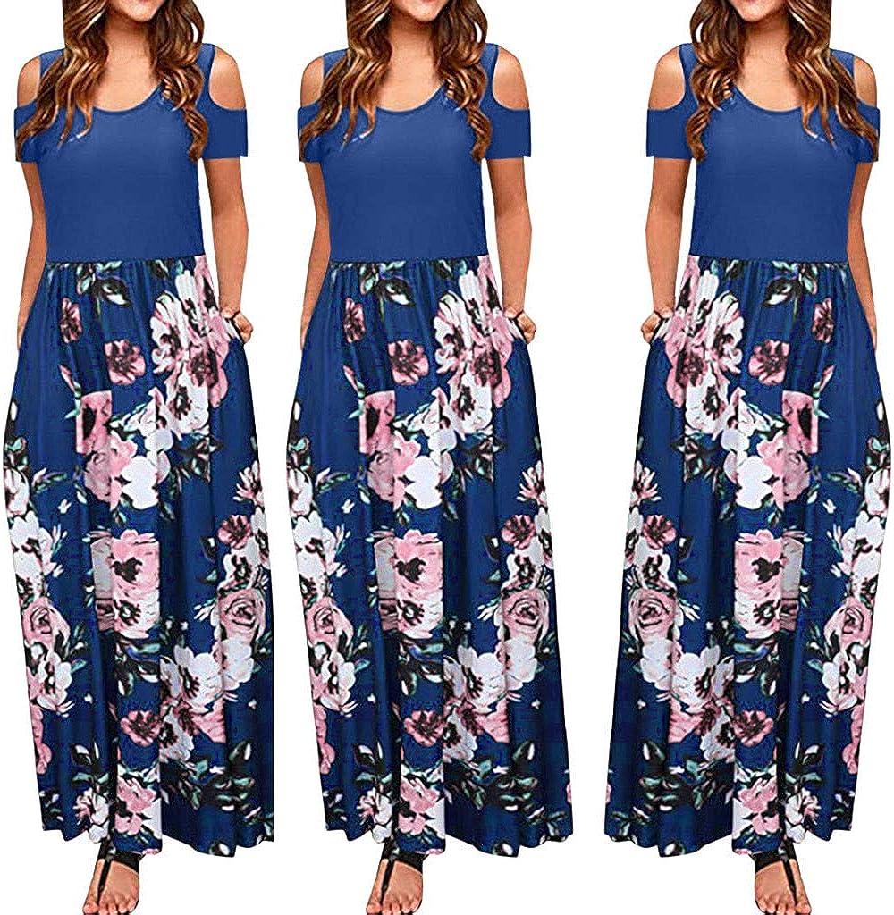 CSSD Womens Short Sleeve Long Beach Dress Summer Casual Retro Print Tunic Skirt Round Neck Slim Princess Dresses