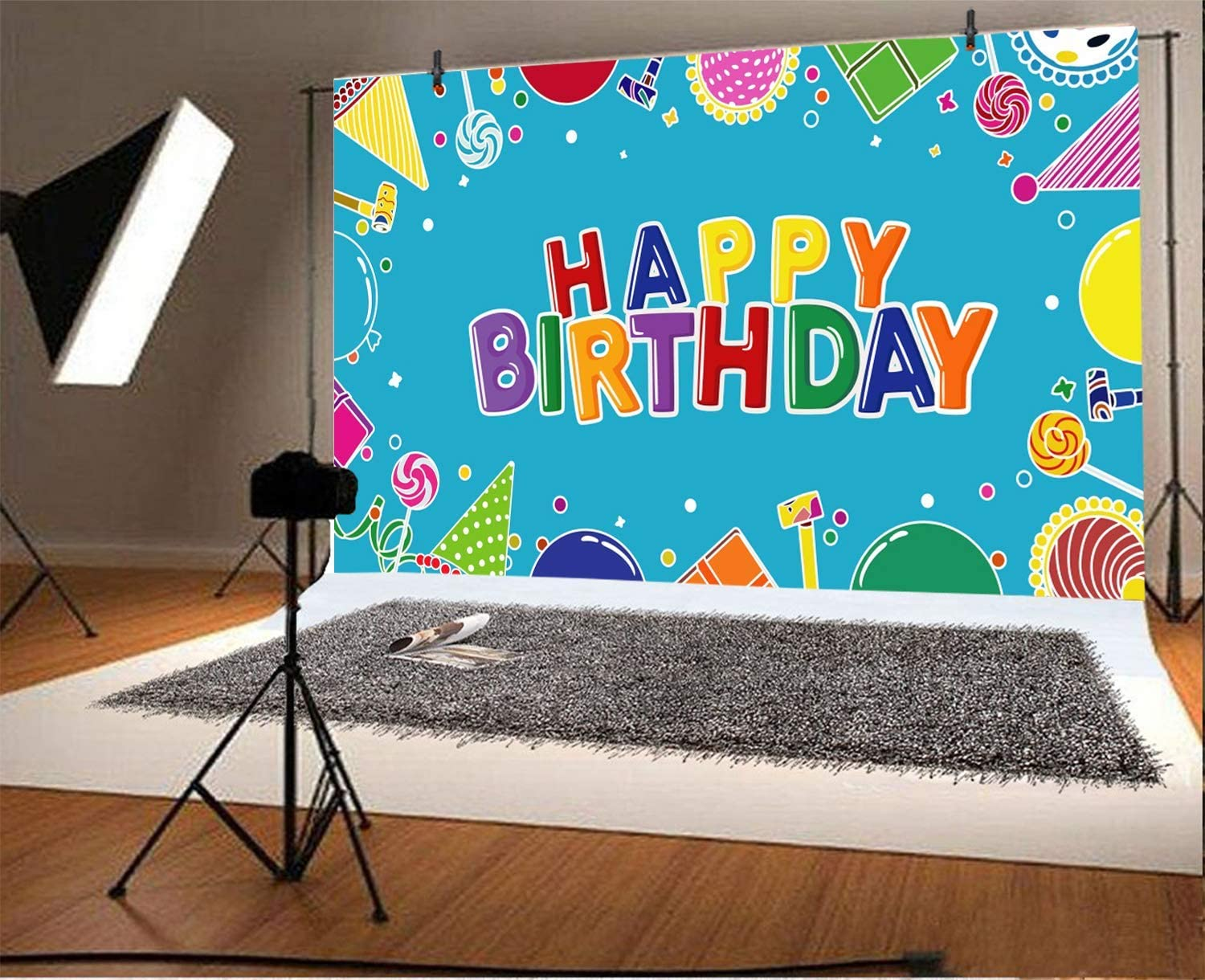 Happy Birthday Backdrop 10x6.5ft Blue Cartoon Polyester Photography Background Colorful Lollipop Birthday Caps Balloons Children Baby Kids Girls Boys Party Banner Photo Props Studio Decoration