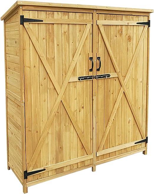 Armario de jardín con 2 puertas 1350x500x1540mm cobertizo, caseta madera de pícea con techo de betún: Amazon.es: Jardín