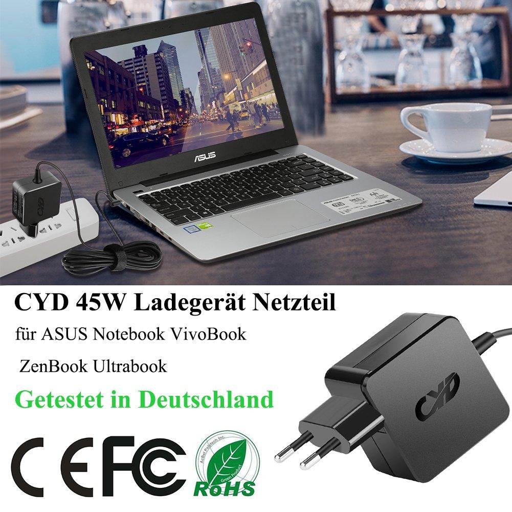 CYD 45W PowerFast Portátile-Cargador para ASUS ADP-40TH EXA1206CH AD890326 X200CA F200MA F102BA X102BA X200MA UX21A UX31A UX32A BX21A BX31A BX32A ...