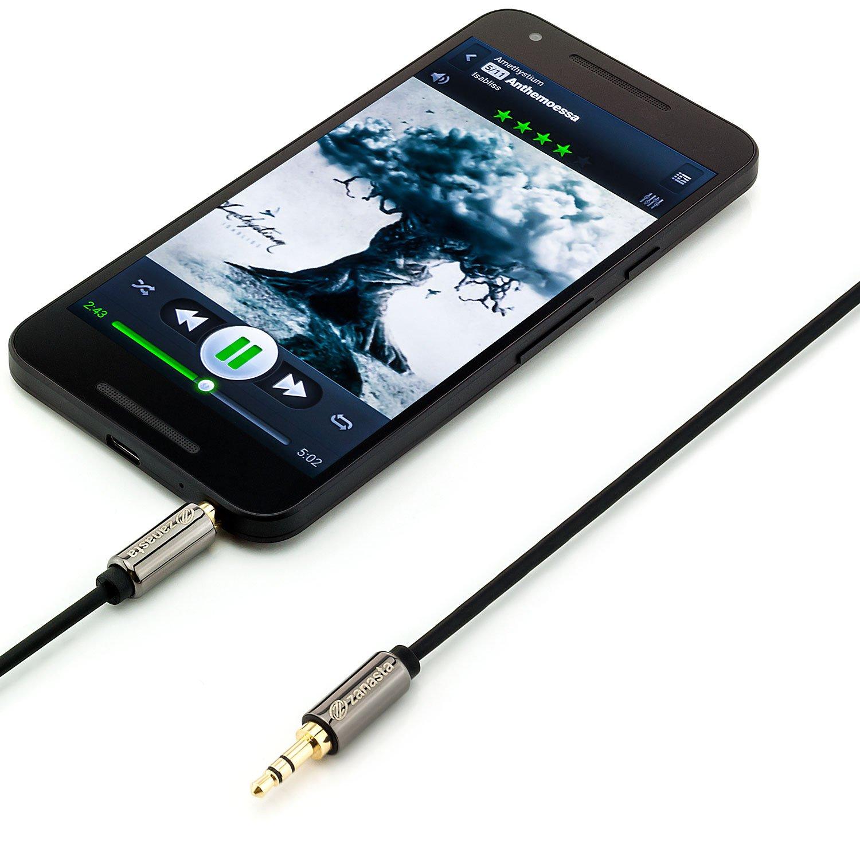 3,5mm 1m Aux Audiokabel Klinkenkabel für Samsung Galaxy S5 S6 S7 Edge A3 A5 A7
