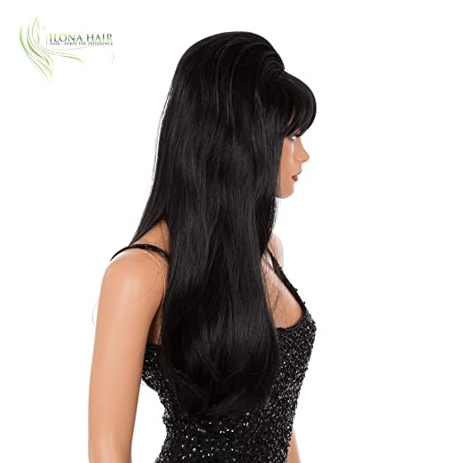 a031ba6c4a8913 Amazon.com: ENJOY THE DIFFERENCE Elvira Wig Gothic Vampire Witch Black Hair  for Halloween or Party: Clothing