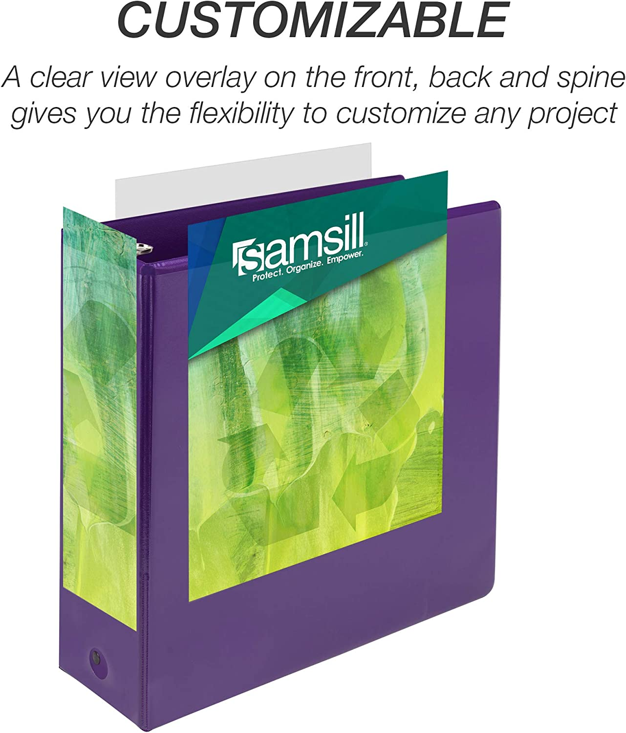 Purple USDA Certified Biobased Customizable Cover 3 Inch Round Ring Samsill Earth/'s Choice Biobased 3 Ring View Binders Up to 25/% Plant Based Plastic