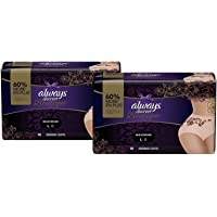 Always Discreet Boutique Incontinence Maximum Protection Underwear for Women, Large, 36 Count