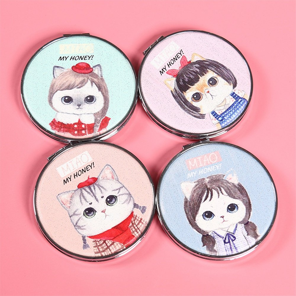 pinjewelr Women's Accessories Adorable Double Sided Metal Round Shape Cat Girl Design Compact Pocket Size Mirrors Random Color