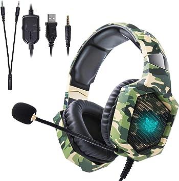 Auriculares Gaming Cascos Stereo PS4 Xbox One Onikuma K8 Auriculares Diadema Gaming Headset con Luz LED, Micrófono, Control de Volumen, Cancelación de Ruido para PC/Tableta/Movil (Camuflaje Verde): Amazon.es: Electrónica