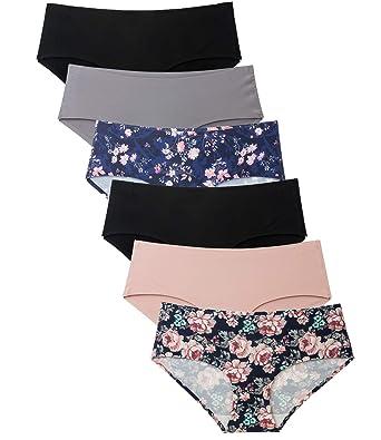 b534b7aef Womens Underwear Seamless No Show Bikini Hipster 6 Pack Floral Print  Panties at Amazon Women s Clothing store