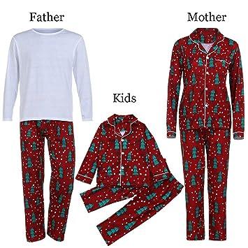 sinwo Hombres Mujeres Niños T Shirt Blouse Pants familia juego de pijama de Navidad familia ropa
