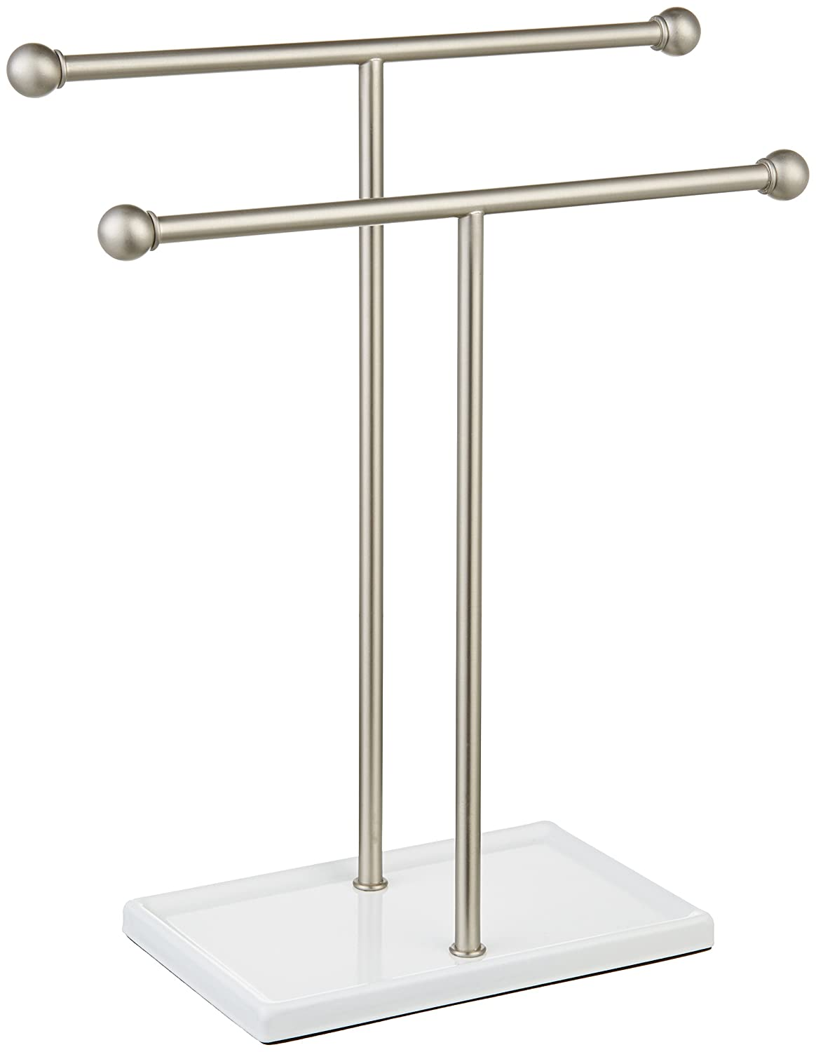 AmazonBasics Double-T Hand Towel Holder and Accessories Jewelry Stand, Nickel/White - 1005573-670-A60