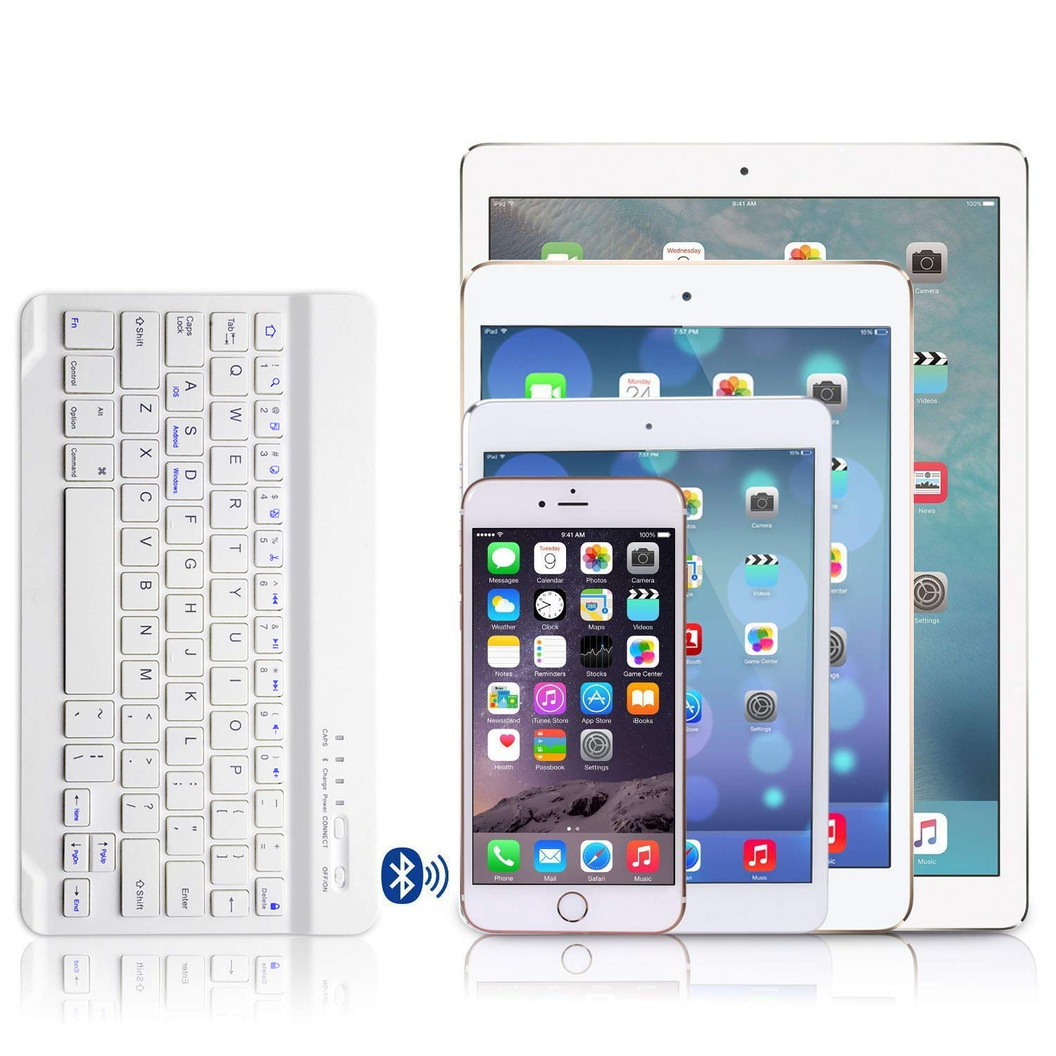 White Keyboard for 7.9 iPad iPad Mini 4 Keyboard Case COO Leather Case with Removable Bluetooth Keyboard Built/­-in Multi-Angle Stand Groove for Apple iPad Mini A1538//A1550