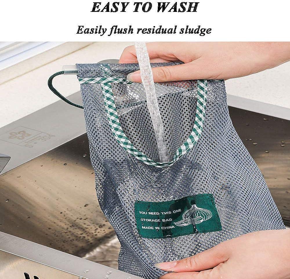 bolsa de verduras para cebollas bolsa de comestibles ecol/ógica verduras Bolsa reutilizable para colgar productos patatas frutas y varios