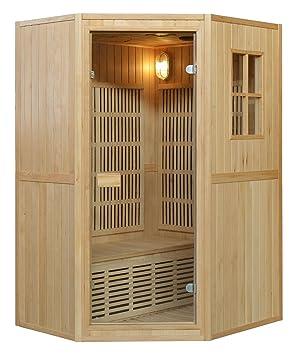 Sauna 125 x 100 x 190H Biposto combinada con estufa Harvia y irradianti de carbono: Amazon.es: Bricolaje y herramientas