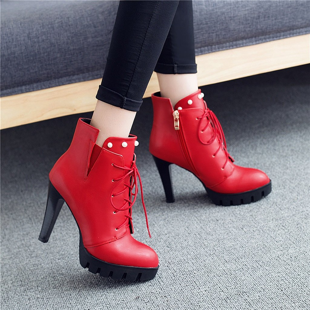 Women 's Martin boots spring and autumn thin shoes personality high heels short boots ( Color : Red , Size : US:5UK:4EUR:35 ) by LI SHI XIANG SHOP (Image #5)