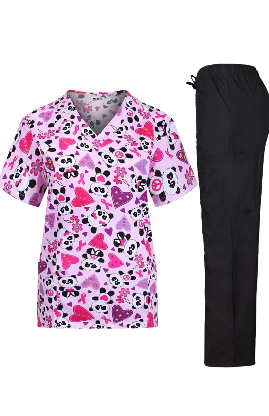 MedPro Women's Medical Scrub Set with Printed Wrap Top and Cargo Pants  Hot Pink L
