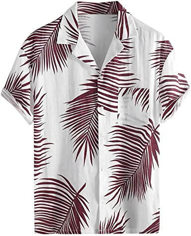 Innerternet-Camiseta de Hombre, Camisa de Manga Corta de Solapa con Bolsillo de Estampado de Hojas de Hawai(Armada/Rojo/Amarillo, M-XXXL): Amazon.es: Ropa y accesorios