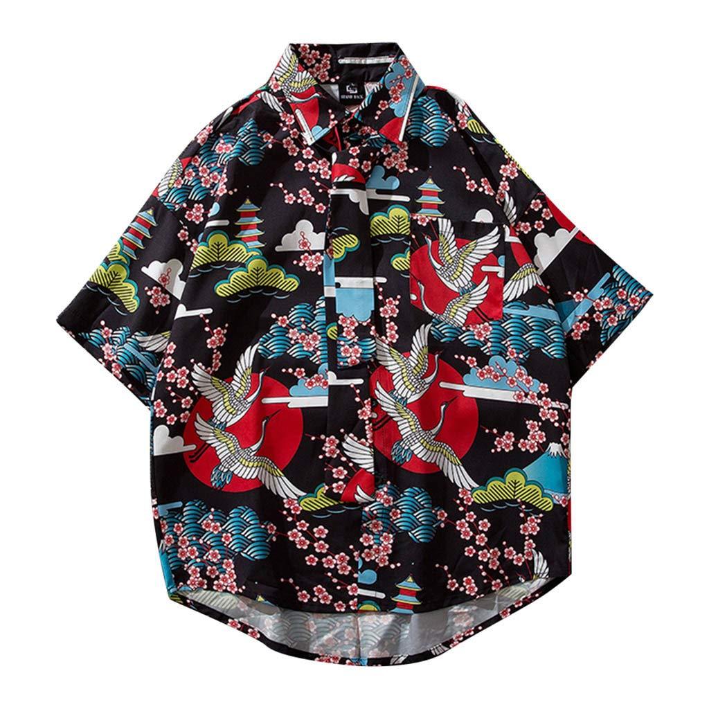Summer Mens Print Shirts,Turn-Down Collar Short Sleeve Beach Tops Loose Casual Button Shirts with Tie (XXL, Black)