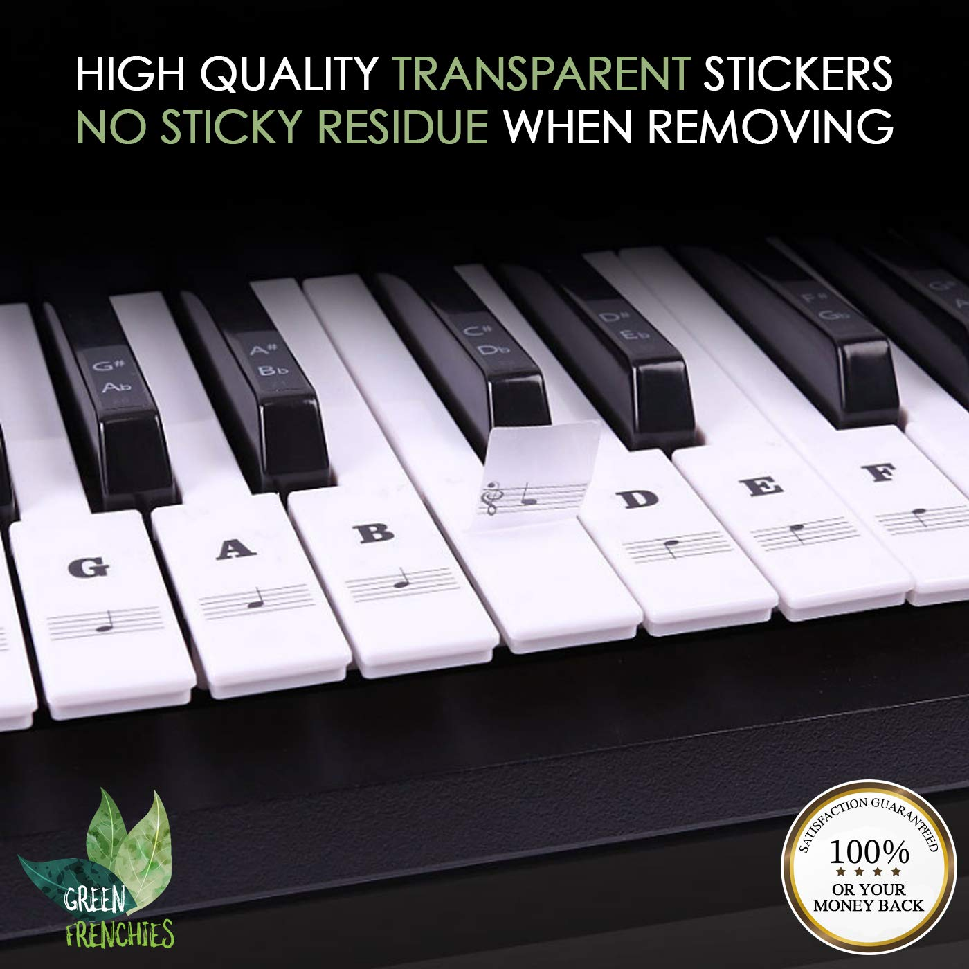 Green Frenchies G.F. Piano Keyboard Stickers, Transparent Stickers for White and Black Keys, Removable Stickers for 37, 49, 54, 61, and 88 Keys with Instructions by Green Frenchies (Image #2)