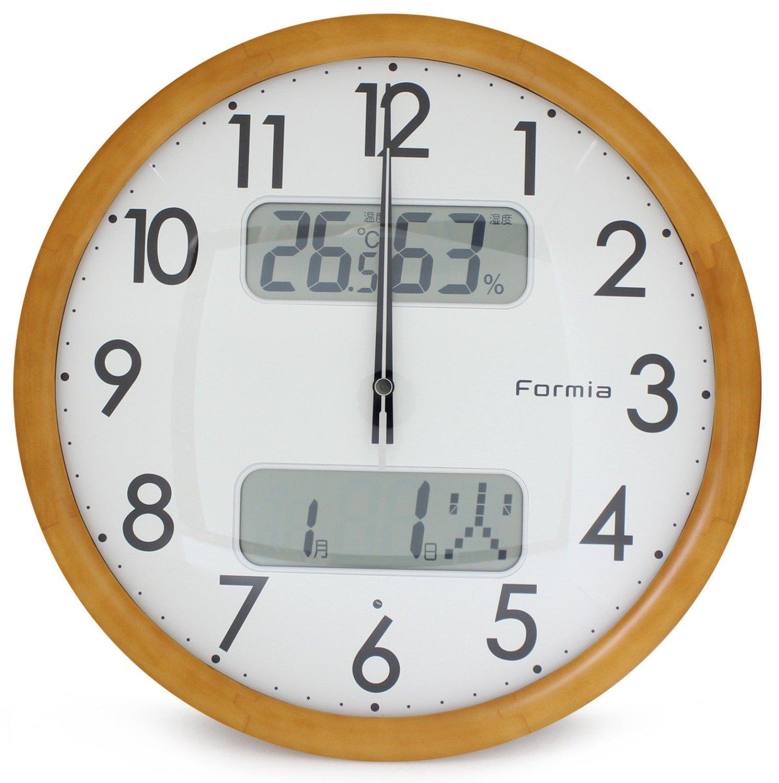 Formia(フォルミア) 電波壁掛け時計 アナログ表示 デジタルカレンダー 温度湿度表示付き 木枠 ナチュラルブラウン HWC-4504PW B010L2R15I