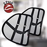 Lumbar Support (2 Pack) with Double-Layer Mesh, Mesh Back Support Cushion for Car Seat Office Chair by Kingphenix (Black…
