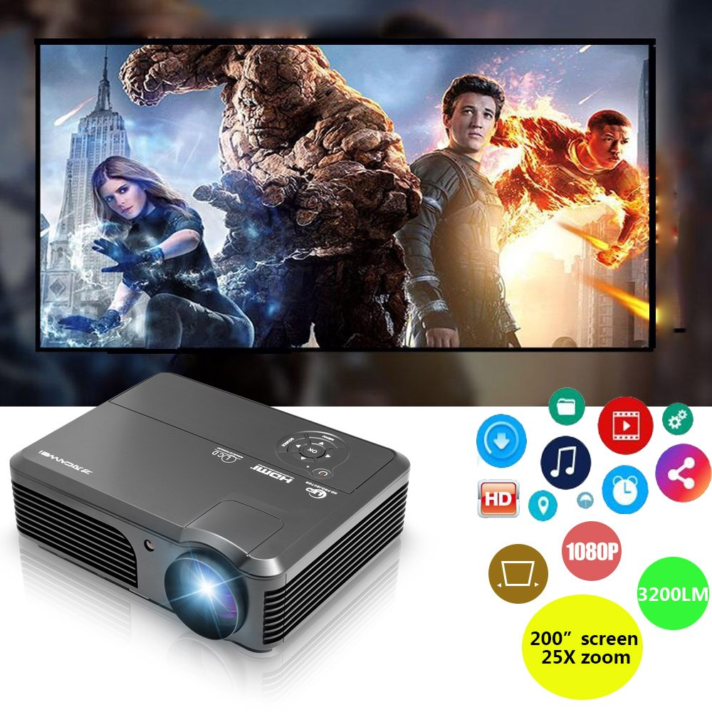 LED LCD Projector 1080p Full HD 3200 Lumens with Free HDMI Cable Keystone, Widescreen Digital Video Projector Smart for TV Movie Gaming Party, Compatible with Smartphone iPhone Mac Laptop DVD Xbox PS4