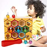 MojiDecor Preschool Bee Hive Wooden Toys,Bee Toy Wooden Bee Game Motor Skills Toys Bee Wooden Toy Early Educational Bee Toys