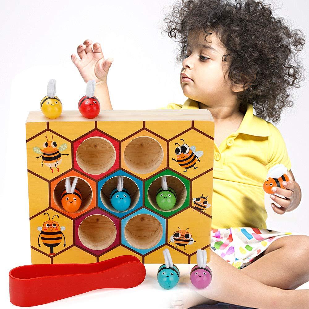 MojiDecor Jouets Montessori en Bois de Ruche d'abeille Jouets Educatifs Amusants Préscolaire pour Les Enfants et Bébé product image
