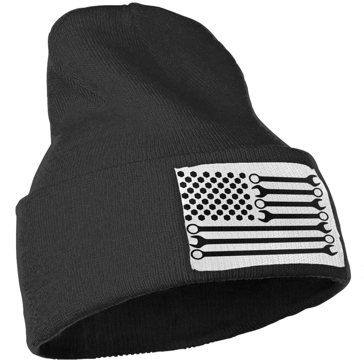 COLLJL-8 Unisex Mechanic DIY Wrench American Flag Outdoor Fashion Knit Beanies Hat Soft Winter Knit Caps