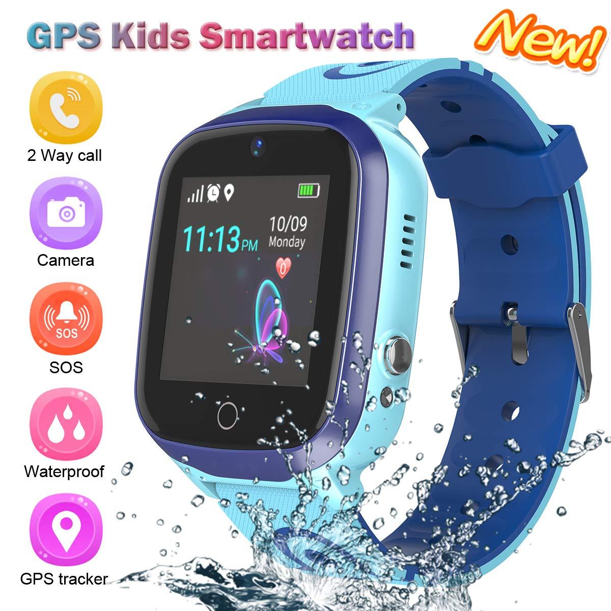 Kids Smart Watch for Boys Smartwatch Wifi/GPS Tracker Watch, Kids GPS Tracker Watch Activity Tracker Digital Watch, Touch Screen HD Camera Pedometer SOS Math Game Watch for Boys Girls School Gift by YENISEY