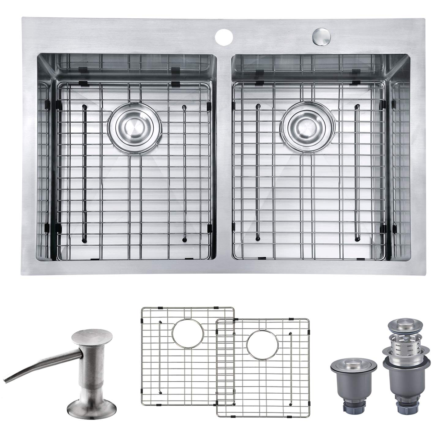 "MOWA HTD33DE Upgraded Perfect Drainage Handmade 33"" 16 Gauge Stainless Steel Topmount 50/50 Double Bowl Kitchen Sink, Deep Commercial Basin Sink w/Basket Strainer, Sink Grids & Bonus Soap Dispenser"