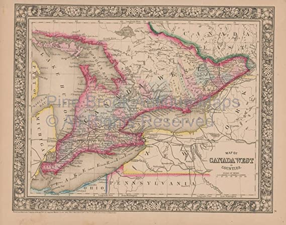 Onterio Canada Map.Amazon Com Ontario Canada Vintage Map Mitchell 1864 Authentic