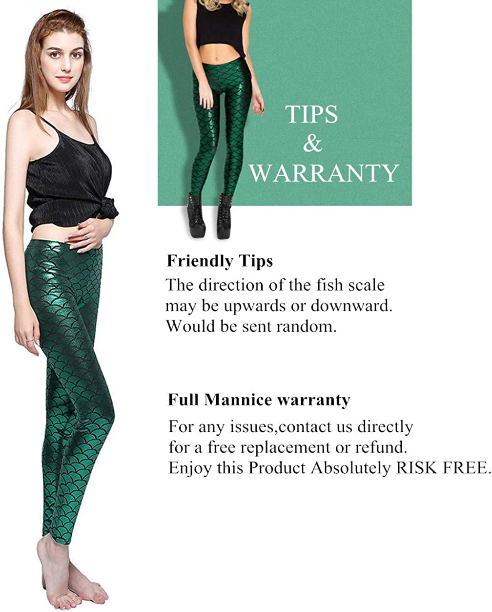Fish Scale Mermaid Leggings Shiny Skinny Halloween Costume for Women Pants S-3XL