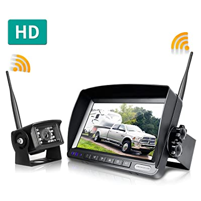 ZEROXCLUB Digital Wireless Backup Camera System Kit,No Interference,IP69 Waterproof Wireless Rear View Camera + 7'' LCD Wireless Reverse Monitor for Rv/Truck/Trailer/Bus/Pickup/Van (W01-7 inch): Car Electronics