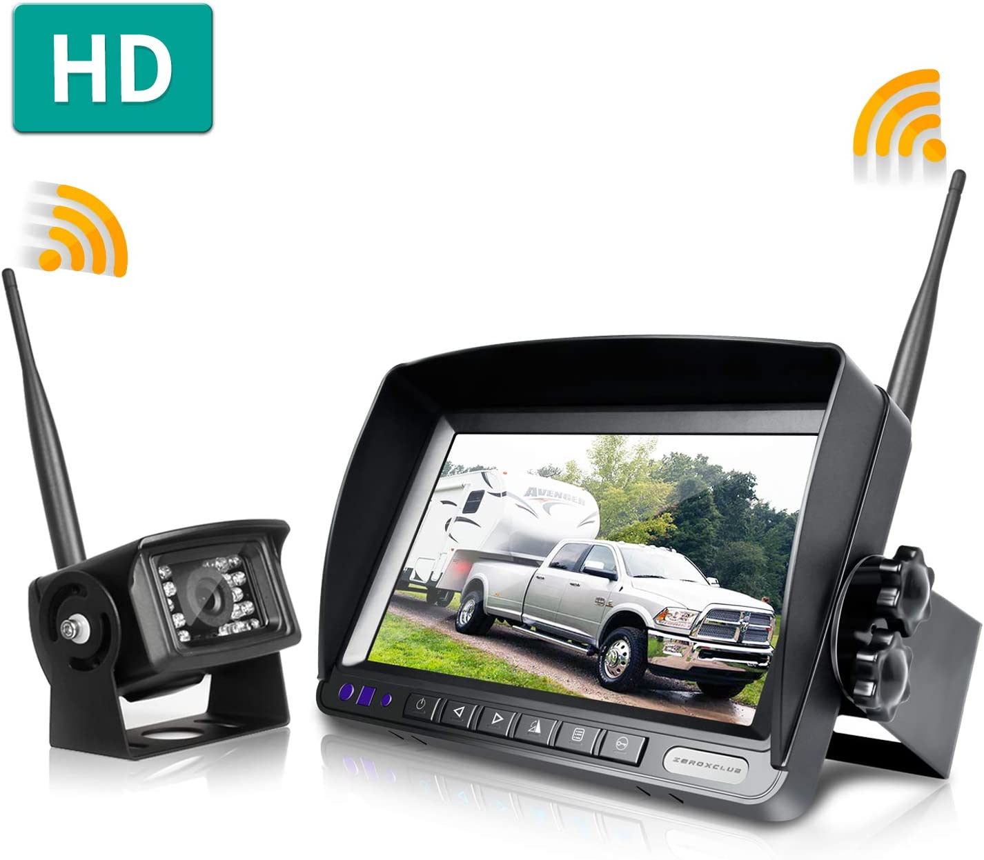 ZEROXCLUB Digital Wireless Backup Camera System Kit,No Interference,IP69 Waterproof Wireless