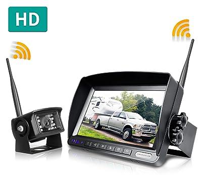 ZEROXCLUB Digital Wireless Backup Camera System Kit,No Interference,IP69 Waterproof Wireless Rear View Camera + 7'' LCD Wireless Reverse Monito