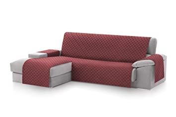 textil-home Funda Cubre Sofá Chaise Longue Malu, Protector para Sofás Acolchado Brazo Izquierdo. Tamaño -240cm. Color Rojo (Visto DE Frente)