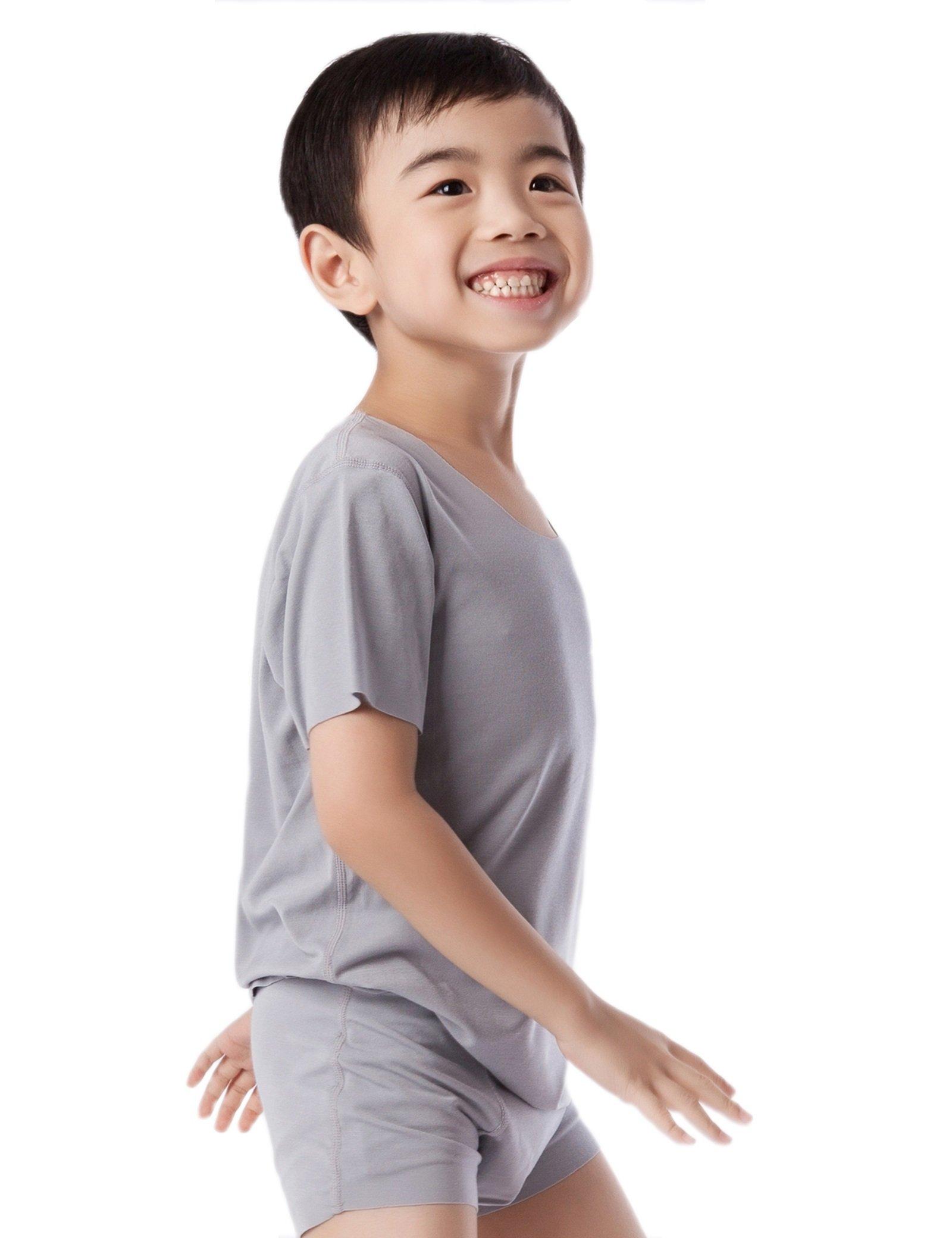 NASSE Boys Crew Neck Short Sleeve Undershirts Free-Cut Cotton Tee Shirts (XL, Grey)