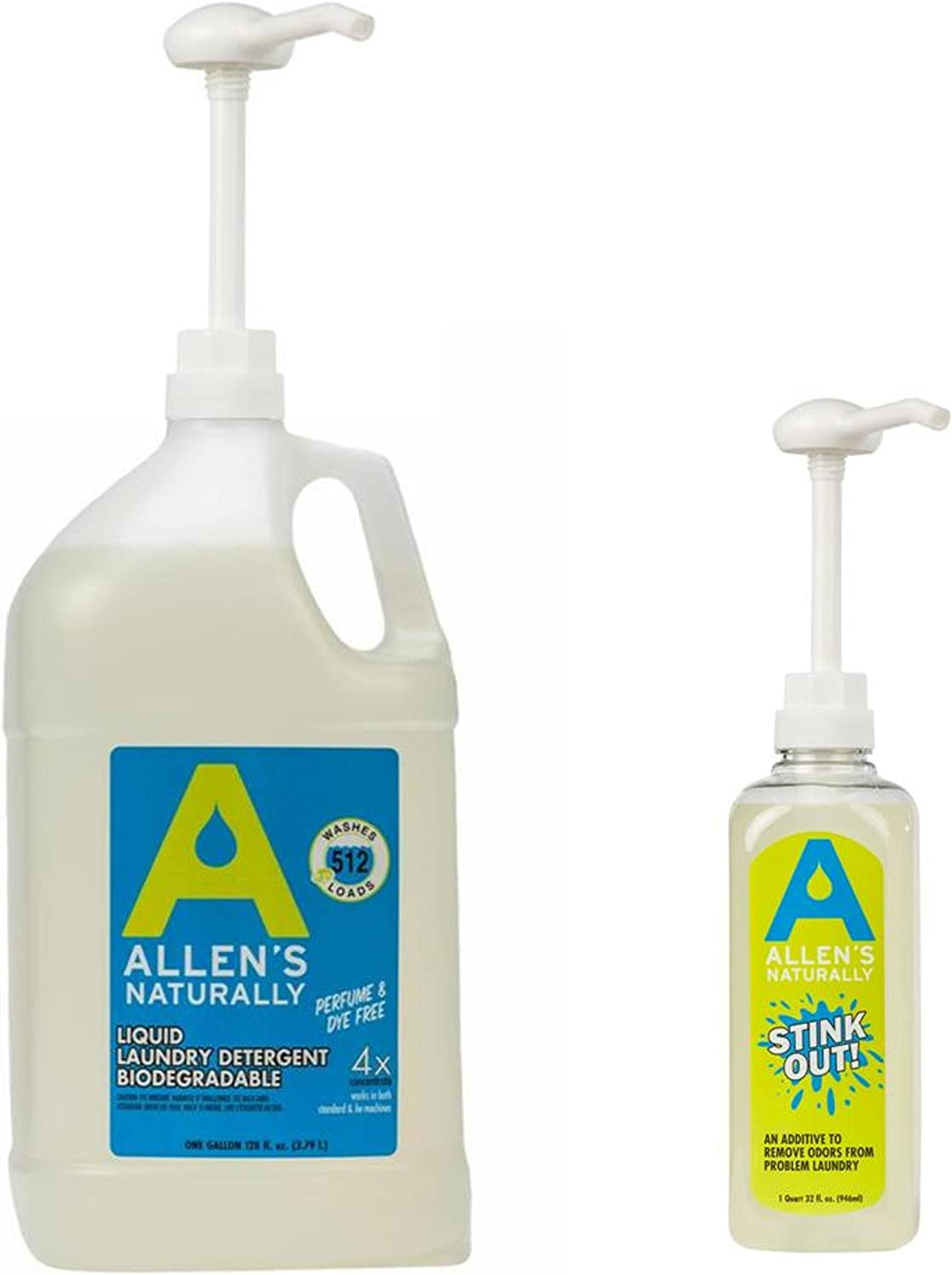 Allens Naturally Liquid Soap Laundry Detergent 1 Gallon/ 128 fl oz/ 3.78 Liters + Stink Out 1 quart/ 32 fl oz./ 946 ml + Dispensing Pump