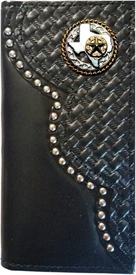 Custom Black Texas Rope and Cross Basket Weave Long Leather Checkbook Wallet Proudly MADE IN THE USA