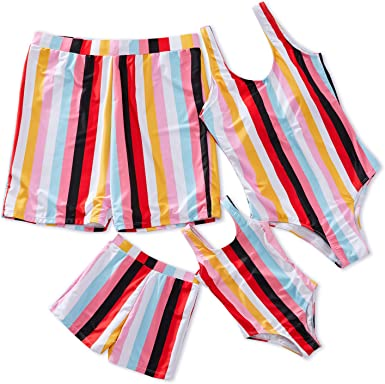Family Matching Swimsuit Swimwear Prime Printed Bathing Suit Beach Wear for Women Men Boy and Girl