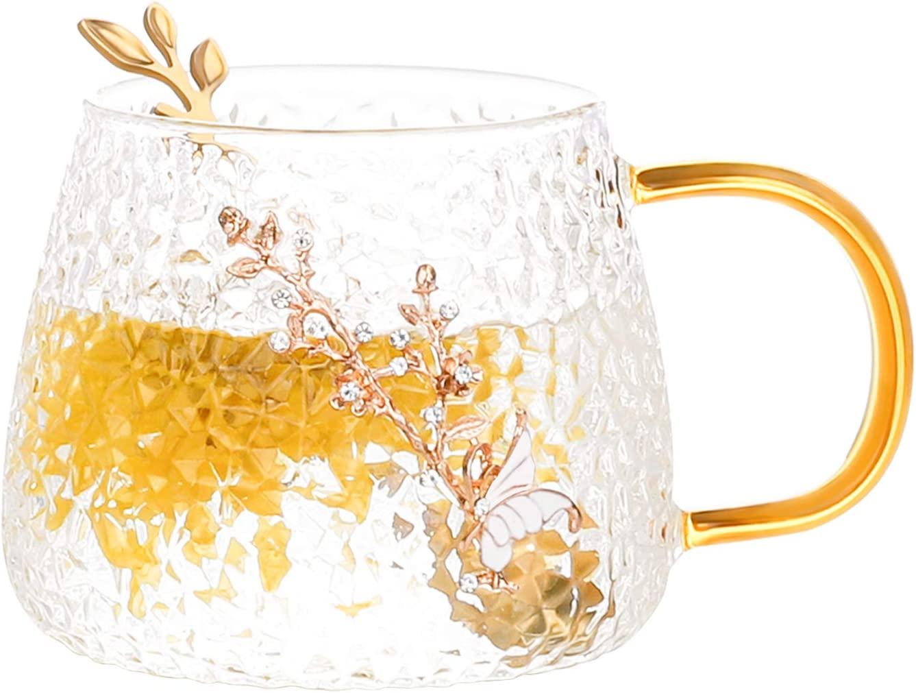 COAWG Glass Tea Cup Coffee Mug, 11OZ -Japanese Classical Flower Clear Cup with Spoon, Unique Enamel Handmade Personalized Birthday Present Ideas for Women Grandma Mom Teachers Hot Beverages ( 11oz)
