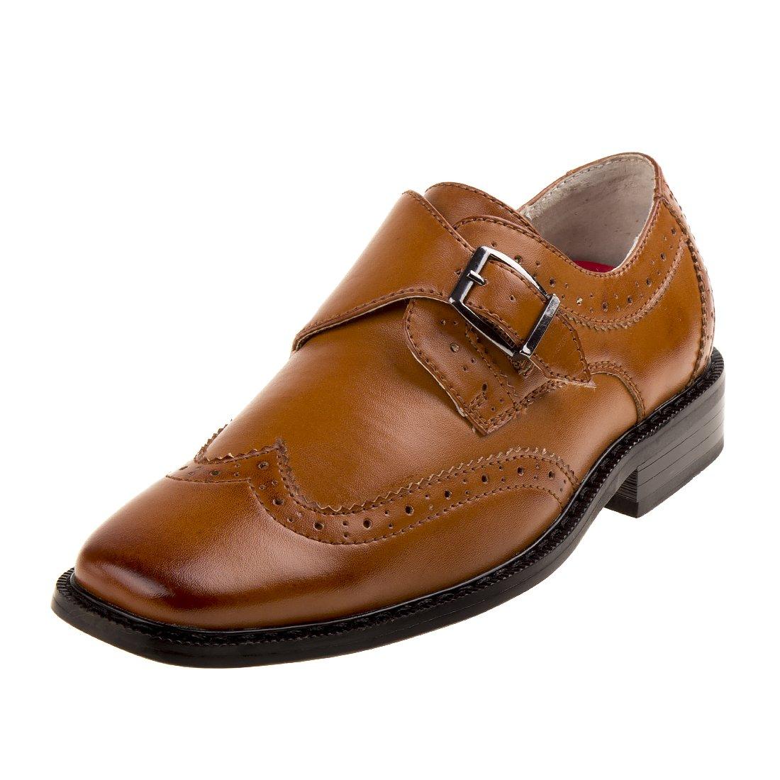Joseph Allen Boy's Wingtip Shoe with Side Buckle, Brown, 3 M US Big Kid'