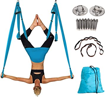 Elevens Yoga Swing Set, Aerial Yoga Hammock Inversion Sling with Ceiling Mount Set and Extension Straps