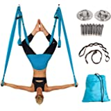 Alice Versatile Aerial Yoga Swing Kit Yoga Hammock Set with Adjustable Handles and 2 Extension Straps and Installation Hardware include Carrying Bag